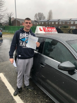 Congratulations to Aaron passing his driving test with 