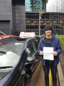 Congratulations to Hashmi passing his driving test with 